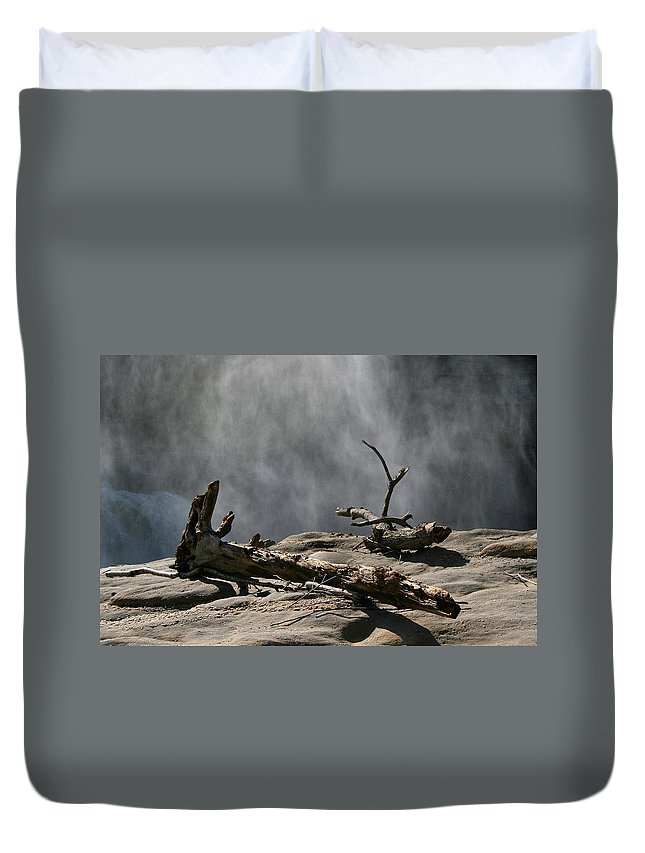 Wood Drift Driftwood Rock Mist Waterfall Nature Sun Sunny Waterful Glow Rock Old Aged Duvet Cover featuring the photograph Driftwood by Andrei Shliakhau