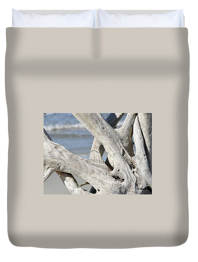 Driftwood Duvet Cover featuring the photograph Driftwood Detail by Al Powell Photography USA