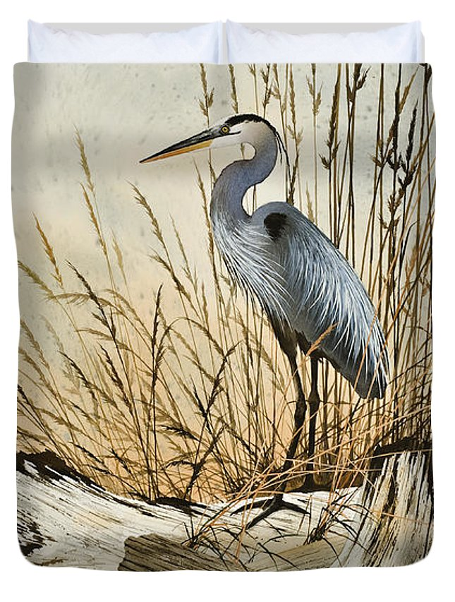 Heron Duvet Cover featuring the painting Driftwood Splendor by James Williamson