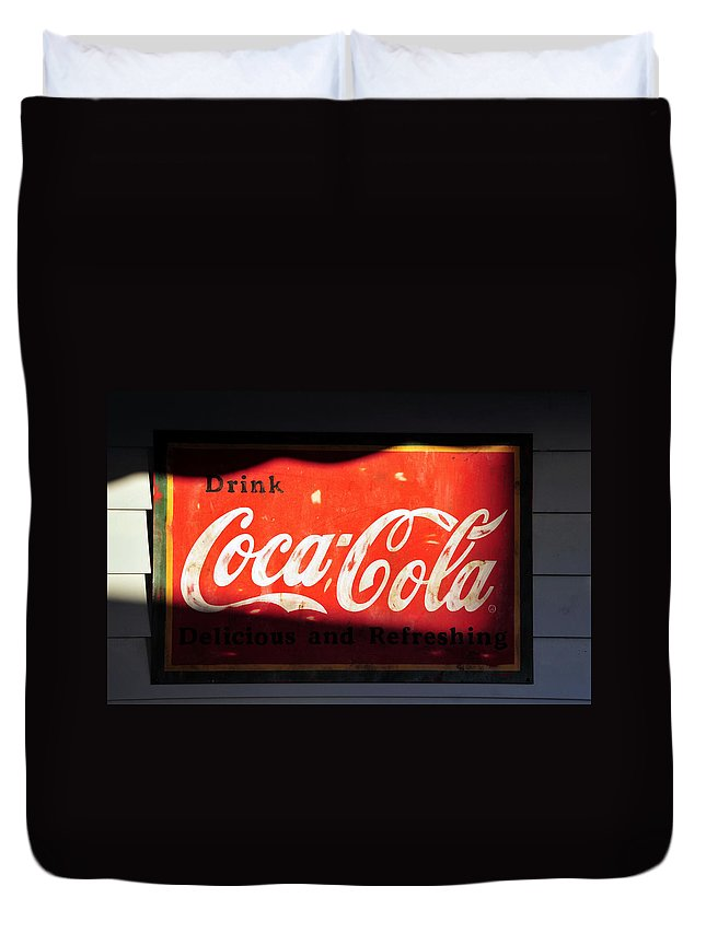 Fine Art Photography Duvet Cover featuring the photograph Drink Coke by David Lee Thompson