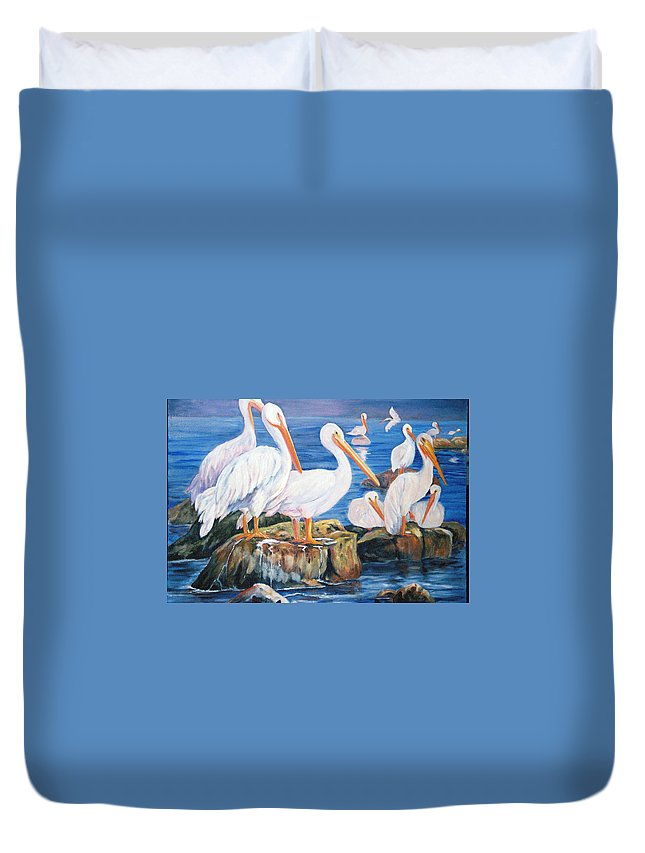 Pelicans On The Louisiana Jetties Duvet Cover featuring the painting Drippin Wet by Anne Dentler
