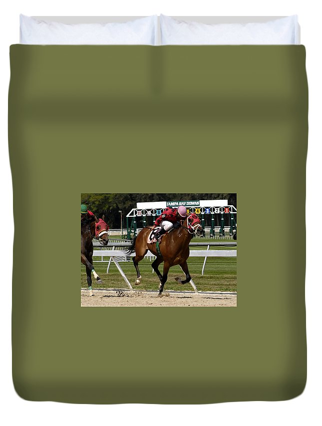 Horse Racing Duvet Cover featuring the photograph Drive by David Lee Thompson