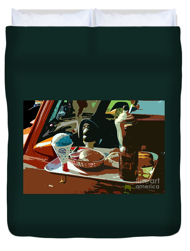 Classic Car Duvet Cover featuring the painting Drive In by David Lee Thompson