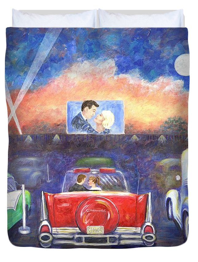 Cars Duvet Cover featuring the painting Drive-in Movie Theater by Linda Mears