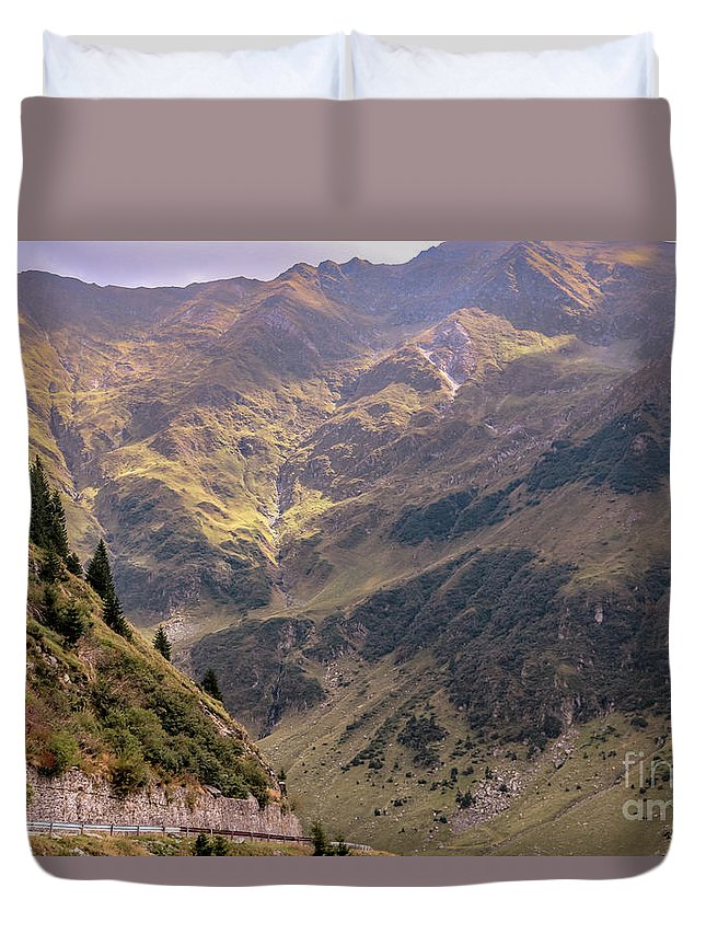 Mountains Duvet Cover featuring the photograph Drive In The Mountains by Claudia M Photography