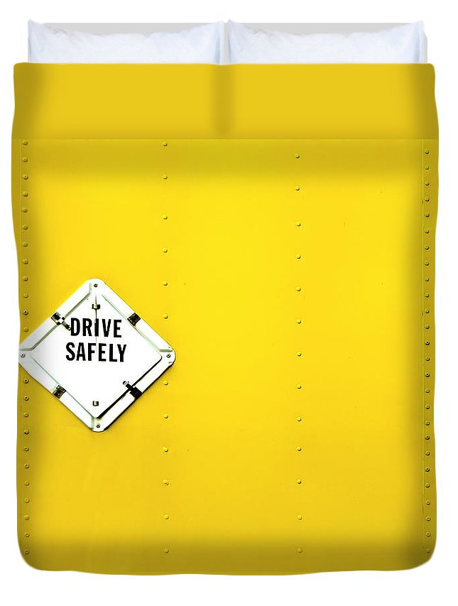 Bright Duvet Cover featuring the photograph Drive Safely by Evelina Kremsdorf