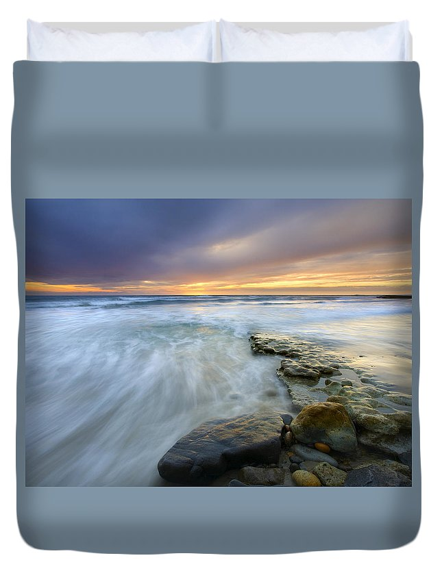 Rocks Duvet Cover featuring the photograph Driven Before The Storm by Mike Dawson