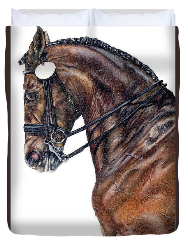Horse Duvet Cover featuring the drawing Driven by Kristen Wesch