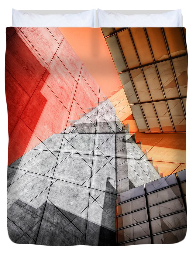 Buildings Duvet Cover featuring the photograph Driven To Abstraction by Wayne Sherriff