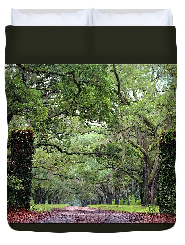 Driveway Duvet Cover featuring the photograph Driveway To The Past by Cynthia Guinn