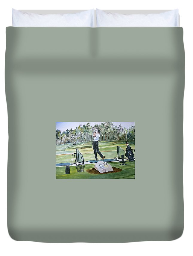 Golfing Duvet Cover featuring the painting Driving Pine Hills by P Anthony Visco