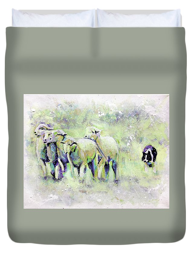 Sheep Duvet Cover featuring the painting Driving Sheep by Steve Gamba