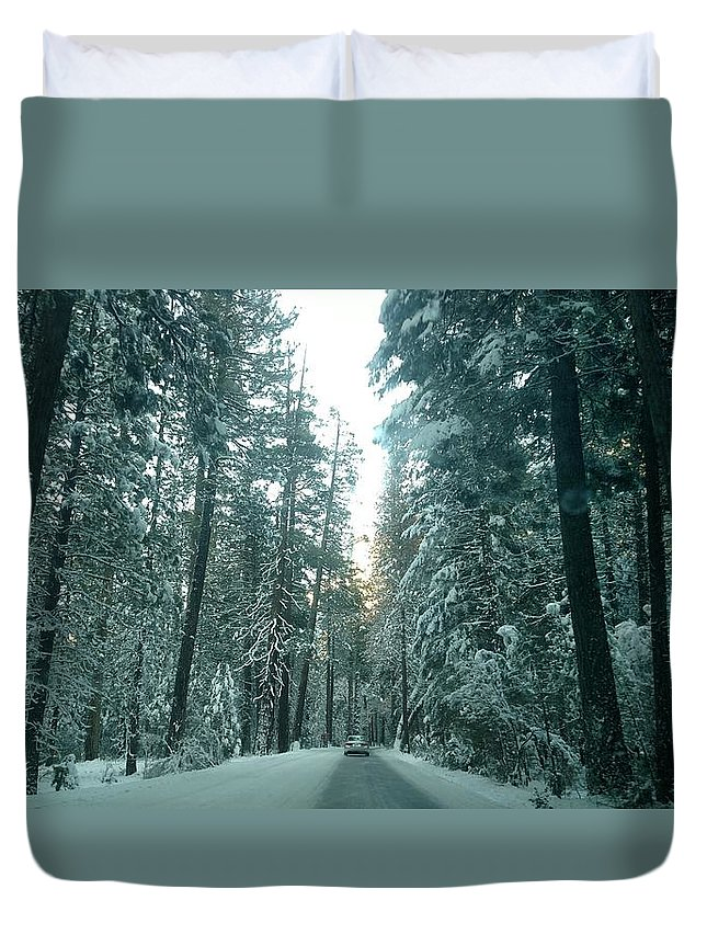 Snow Duvet Cover featuring the photograph Driving Through A Winter Wonderland Yosemite by Tiffani Burkett
