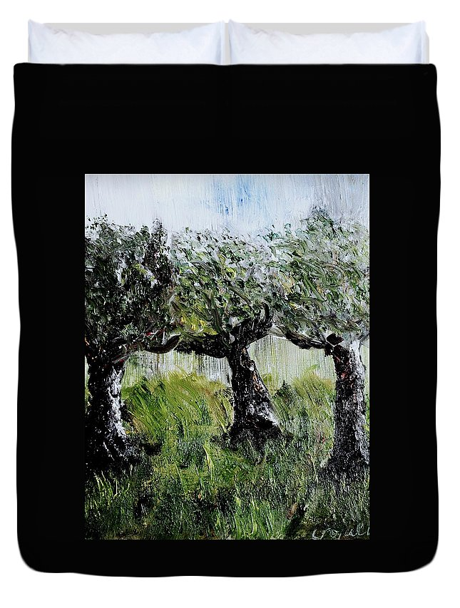 Trees Duvet Cover featuring the painting Drizzle by Evelina Popilian