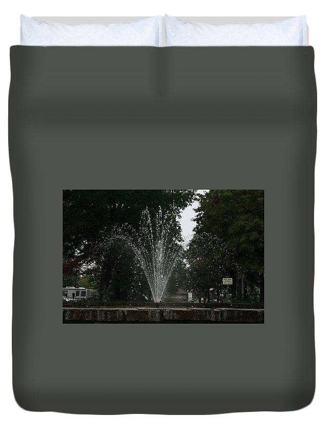 Water Duvet Cover featuring the photograph Drops Of Fountain by Lynn Michelle