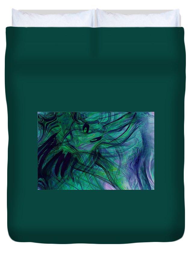 Digital Abstarct Art Duvet Cover featuring the digital art Drowning by Linda Sannuti