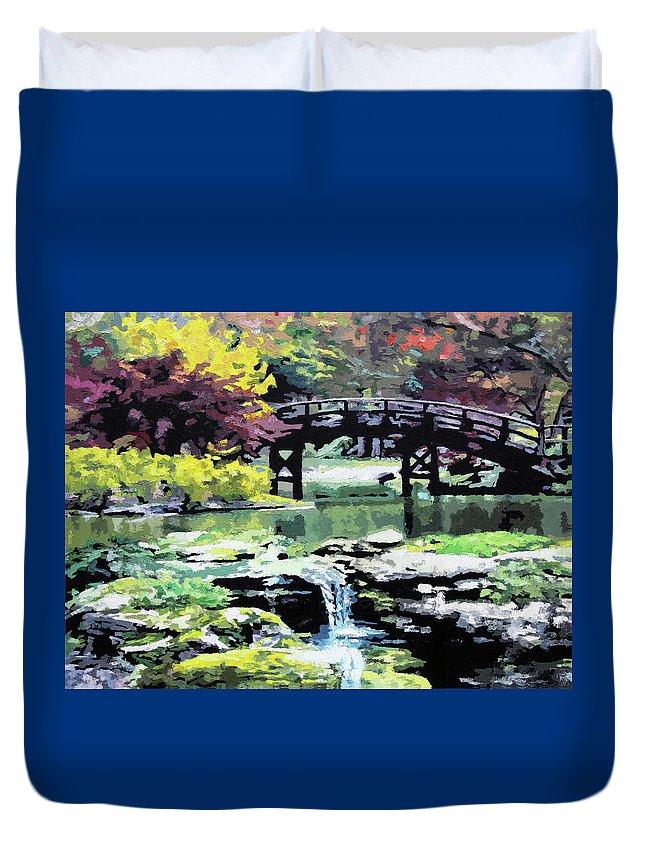 Bridge Duvet Cover featuring the painting Drum Bridge Missouri Botanical Garden by John Lautermilch