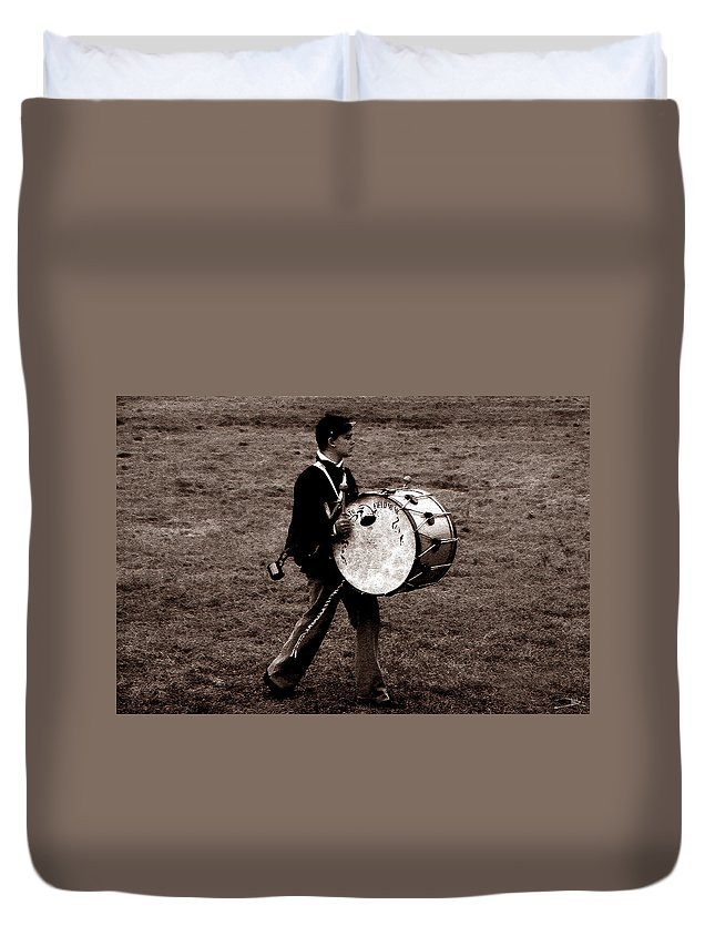 Drummer Boy Duvet Cover featuring the painting Drummer Boy by David Lee Thompson