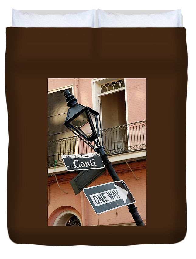 New Orleans Duvet Cover featuring the photograph Drunk Street Sign French Quarter by KG Thienemann