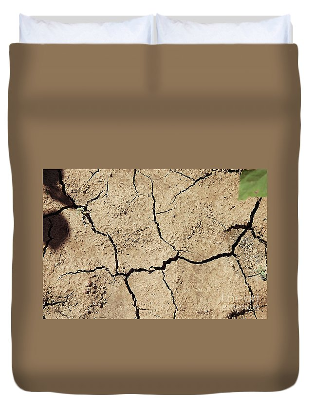 Earth Duvet Cover featuring the photograph Dry Cracked Earth And Green Leaf by Piotr Marcinski