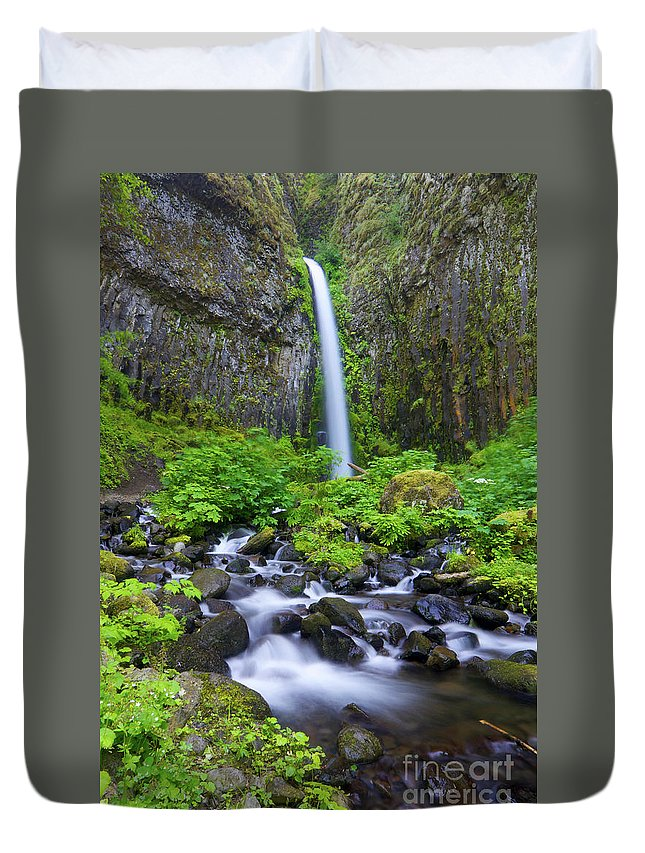 Waterfall Duvet Cover featuring the photograph Dry Creek Falls by Bruce Block
