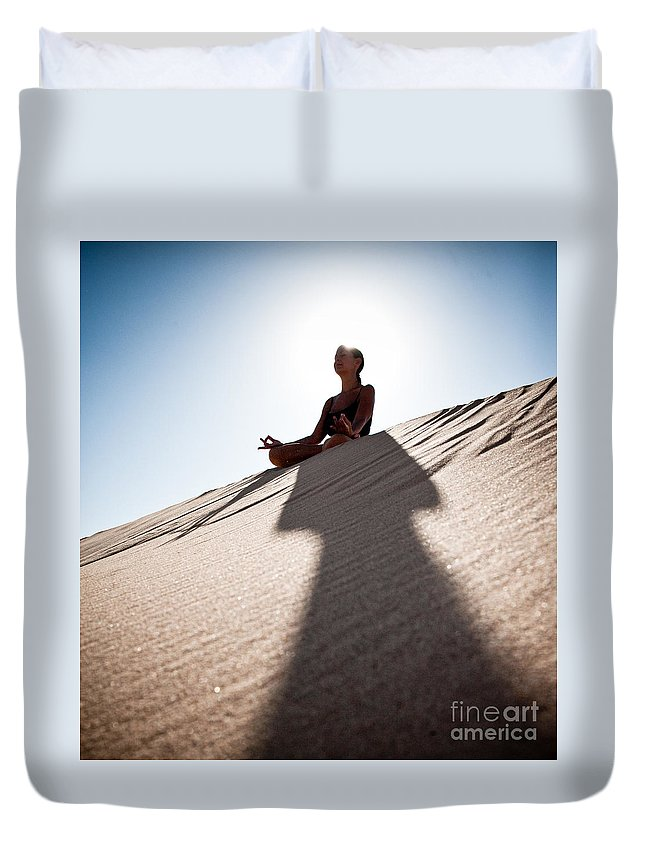 Yoga Duvet Cover featuring the photograph Dry Meditation by Scott Sawyer