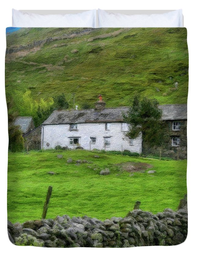 Dean Wittle Duvet Cover featuring the painting Dry Stone Wall And White Cottage - P4a16022 by Dean Wittle