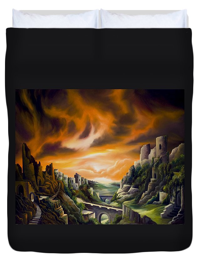 Ruins; Cityscape; Landscape; Nightmare; Horror; Power; Roman; City; World; Lost Empire; Dramatic; Sky; Red; Blue; Green; Scenic; Serene; Color; Vibrant; Contemporary; Greece; Stone; Rocks; Castle; Fantasy; Fire; Yellow; Tree; Bush Duvet Cover featuring the painting Duallands by James Christopher Hill