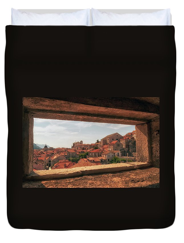 Dubrovnik Duvet Cover featuring the photograph Dubrovnik City In Southern Croatia by Leighton Collins