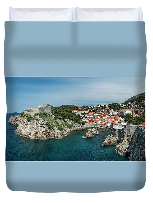 Dubrovnik Duvet Cover featuring the photograph Dubrovnik Panorama by Alida Thorpe