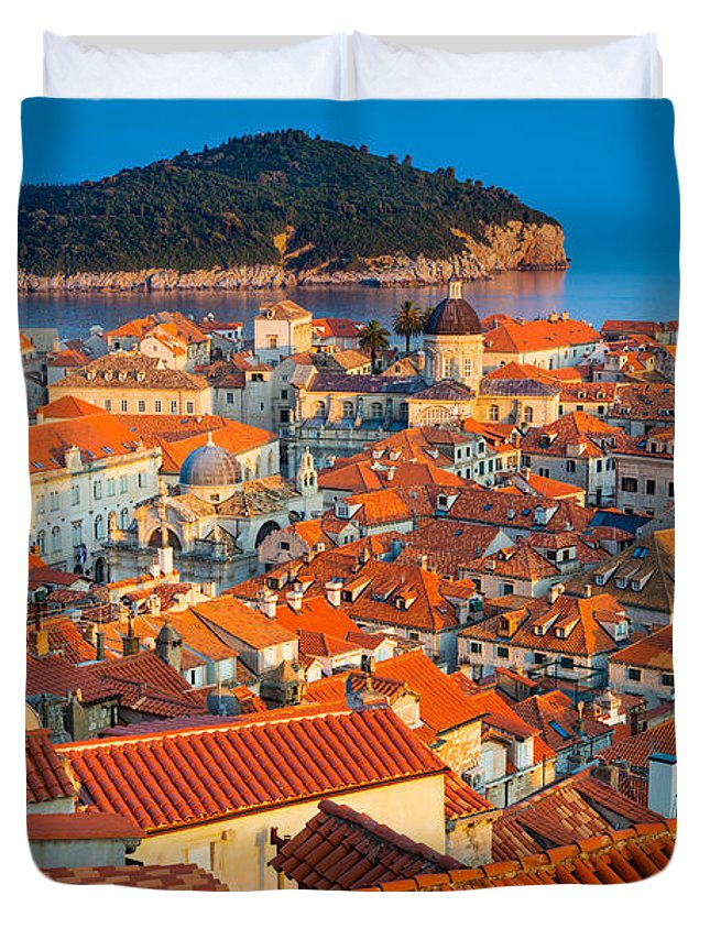 Adriatic Duvet Cover featuring the photograph Dubrovnik Rooftops by Inge Johnsson