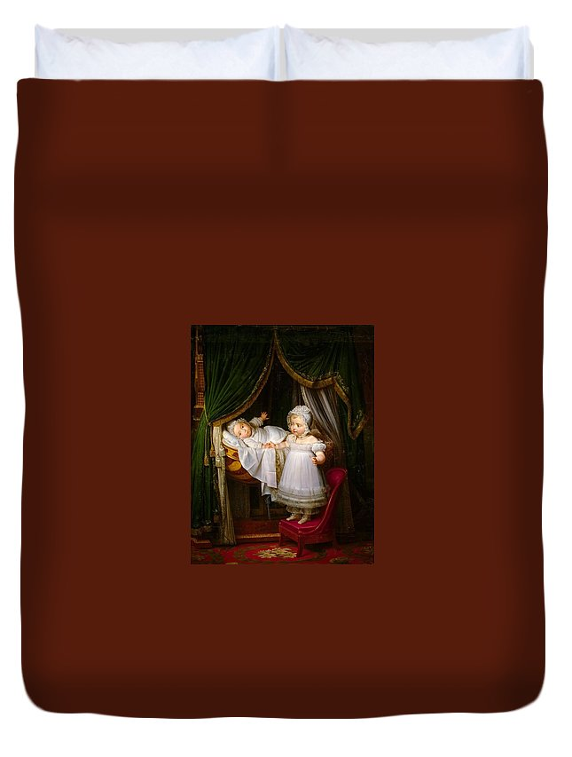 Louis Hersent - Henri-charles-ferdinand D�artois Duvet Cover featuring the painting Duc De Bordeaux In His Cradle by MotionAge Designs