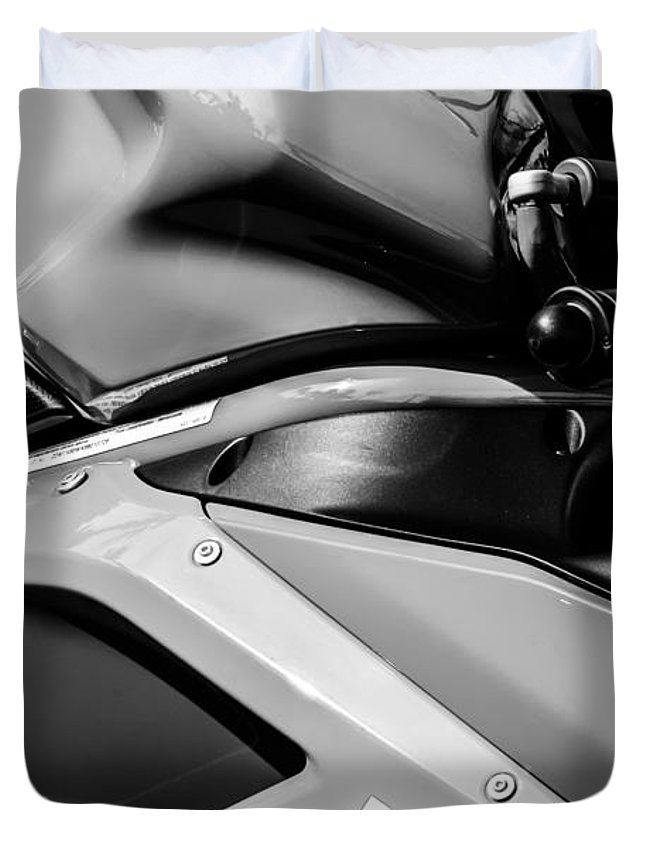 Ducati 1098 Motorcycle Duvet Cover featuring the photograph Ducati 1098 Motorcycle -0893bw by Jill Reger