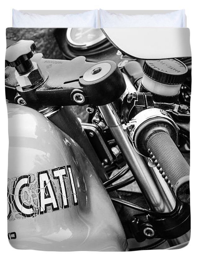 Ducati Desmo Motorcycle Duvet Cover featuring the photograph Ducati Desmo Motorcycle -2127bw by Jill Reger