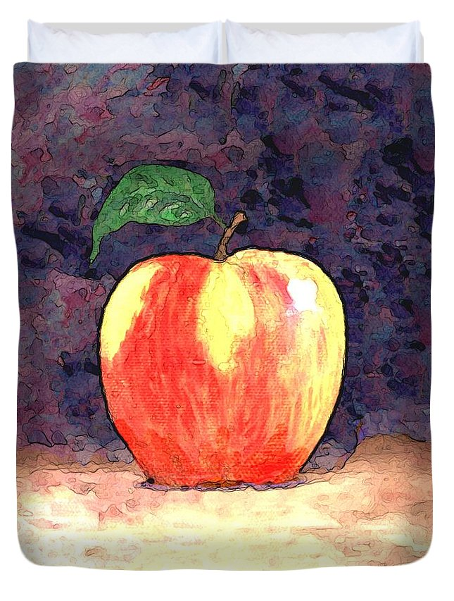 Still Life Duvet Cover featuring the painting Duchess Apple Two by Linda Mears