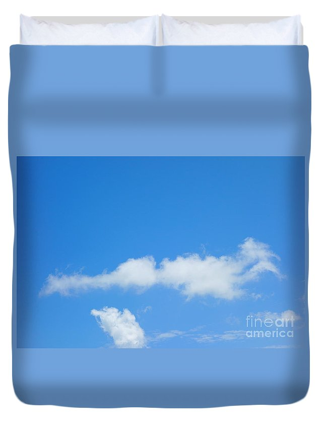 Duck In The Sky Duvet Cover featuring the photograph Duck In The Sky by Alice Heart