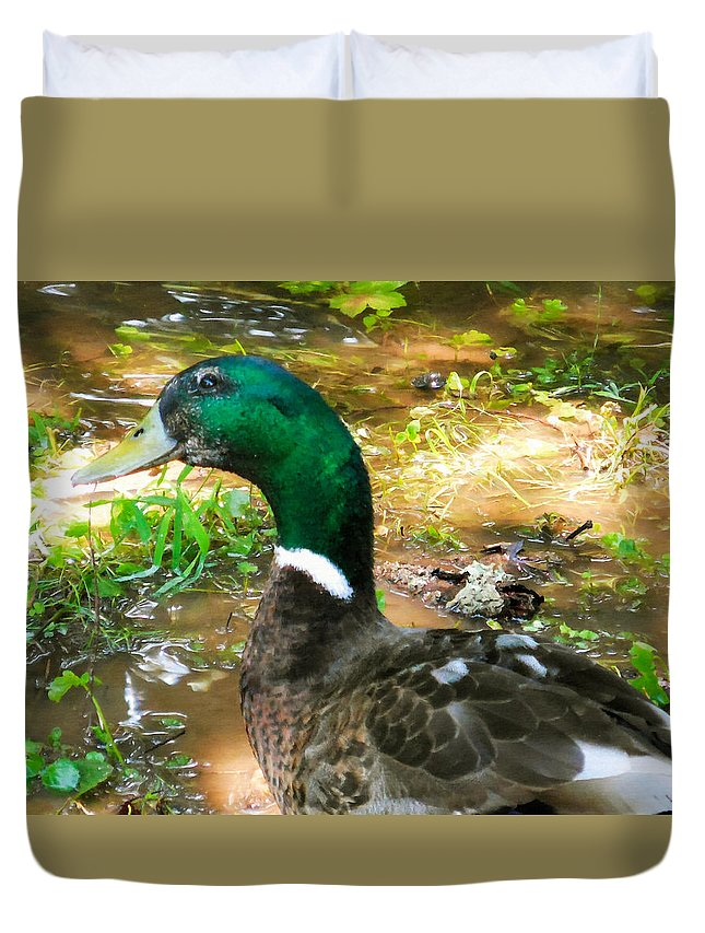 Beak Duvet Cover featuring the painting Duck On The Lake 1 by Jeelan Clark