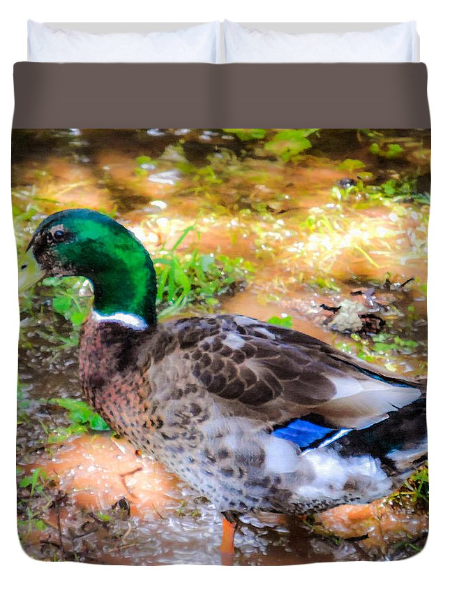Beak Duvet Cover featuring the painting Duck On The Lake 2 by Jeelan Clark