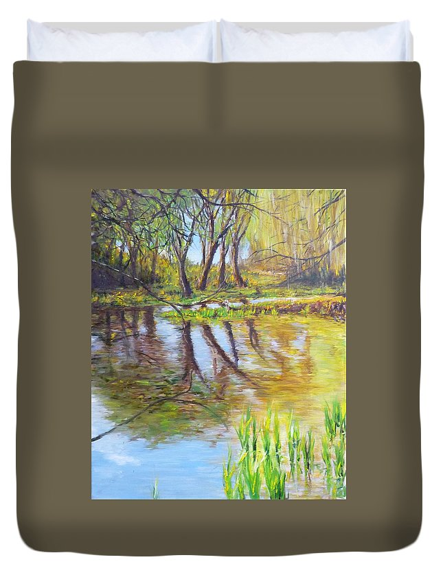 Pond Duvet Cover featuring the painting Duck Pond I by Lizzy Forrester