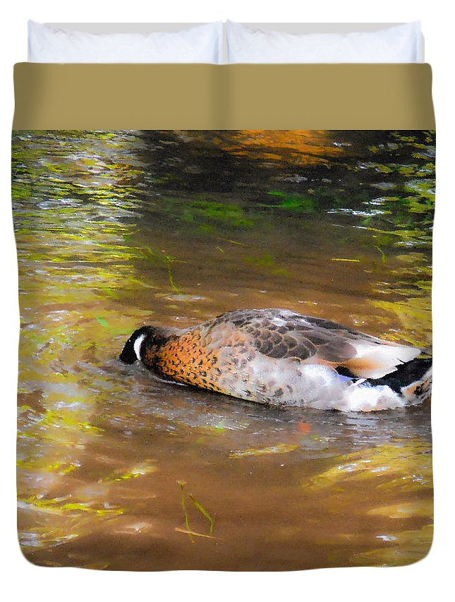 Beak Duvet Cover featuring the painting Duck Submerge It Head Into The Water Looking For Food In The River 2 by Jeelan Clark