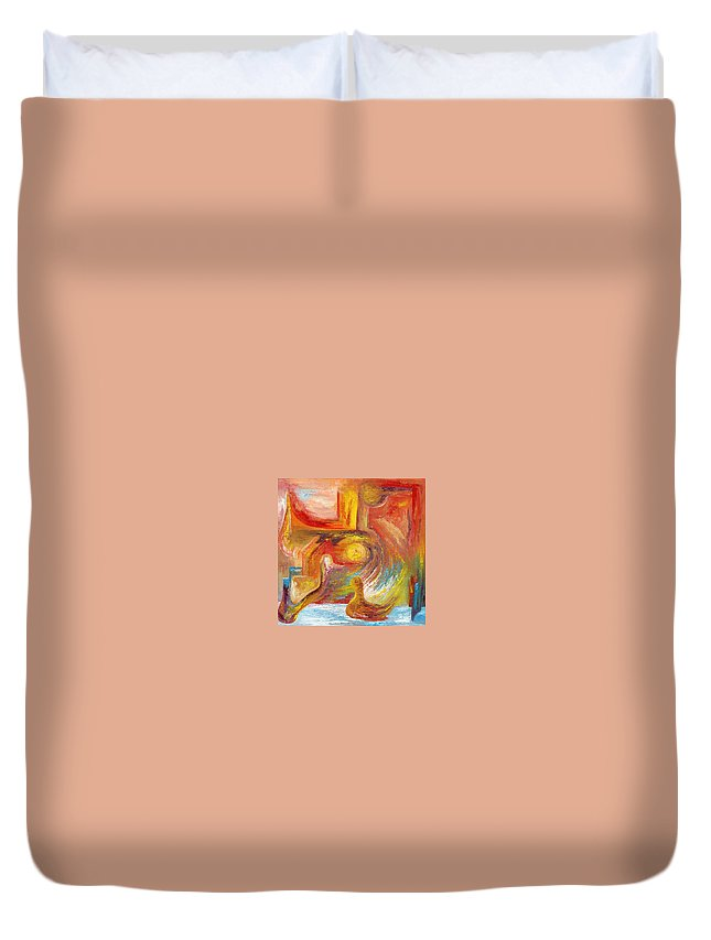 Duck Duvet Cover featuring the painting Duck The Alchemist by Karina Ishkhanova
