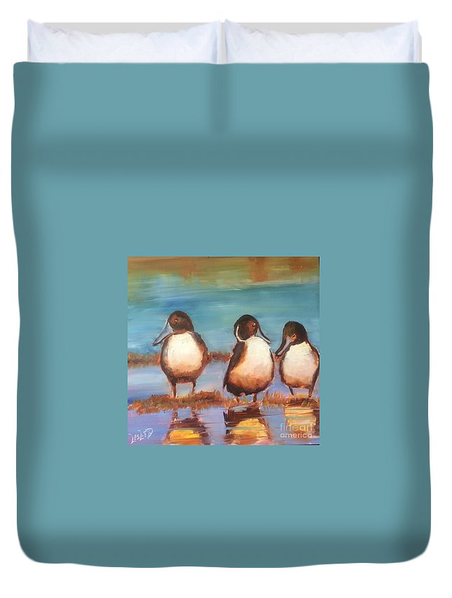Northern Pintails Ducks Duvet Cover featuring the painting Ducks In A Row by Leslie Dobbins