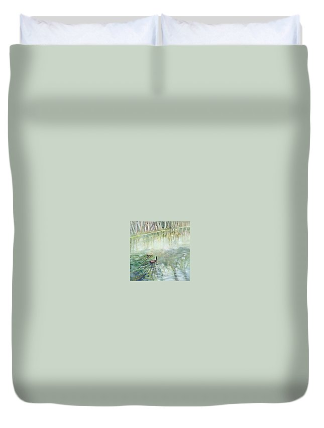Ducks Duvet Cover featuring the painting Ducks In The Shade  by Ekaterina Mortensen