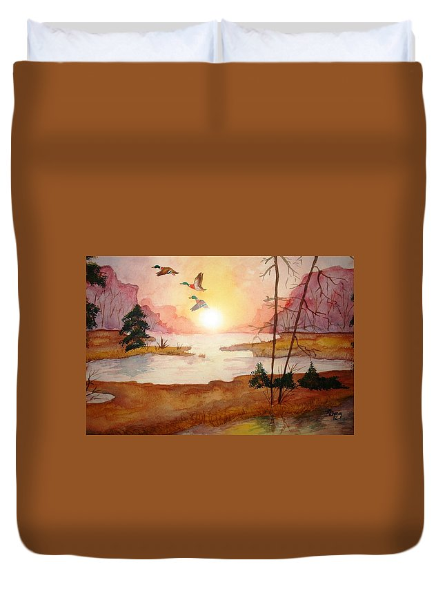 Ducks Duvet Cover featuring the painting Ducks by Melissa Wiater Chaney