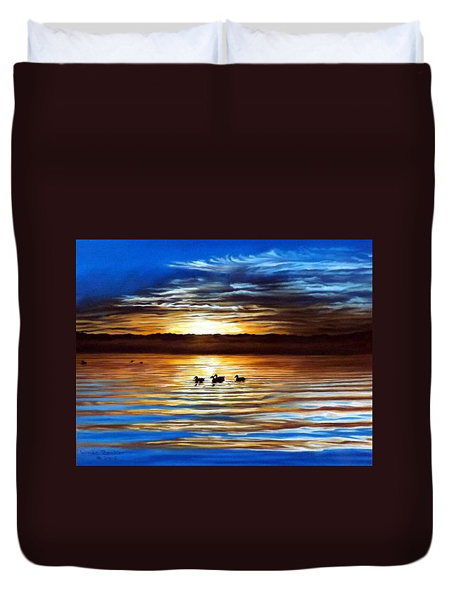 Landscape Duvet Cover featuring the painting Ducks On Clear Lake by Linda Becker