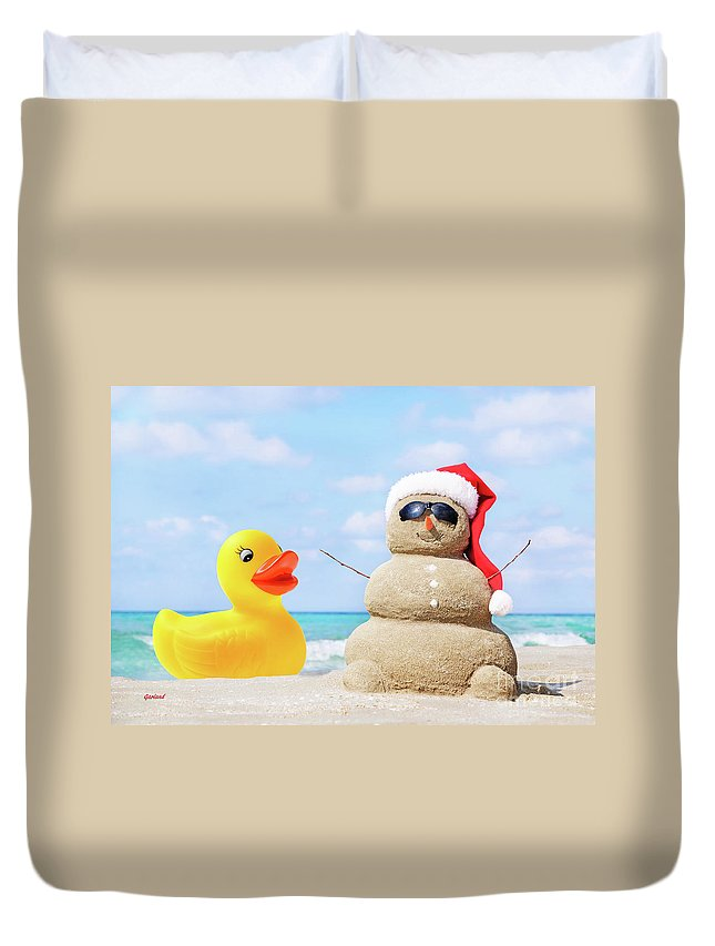 Claus Duvet Cover featuring the mixed media Ducky And Santa At The Beach by Garland Johnson