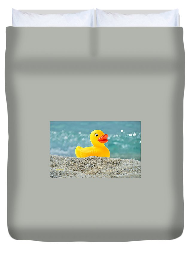 Beach Duvet Cover featuring the mixed media Ducky's Fun Day At The Beach by Garland Johnson