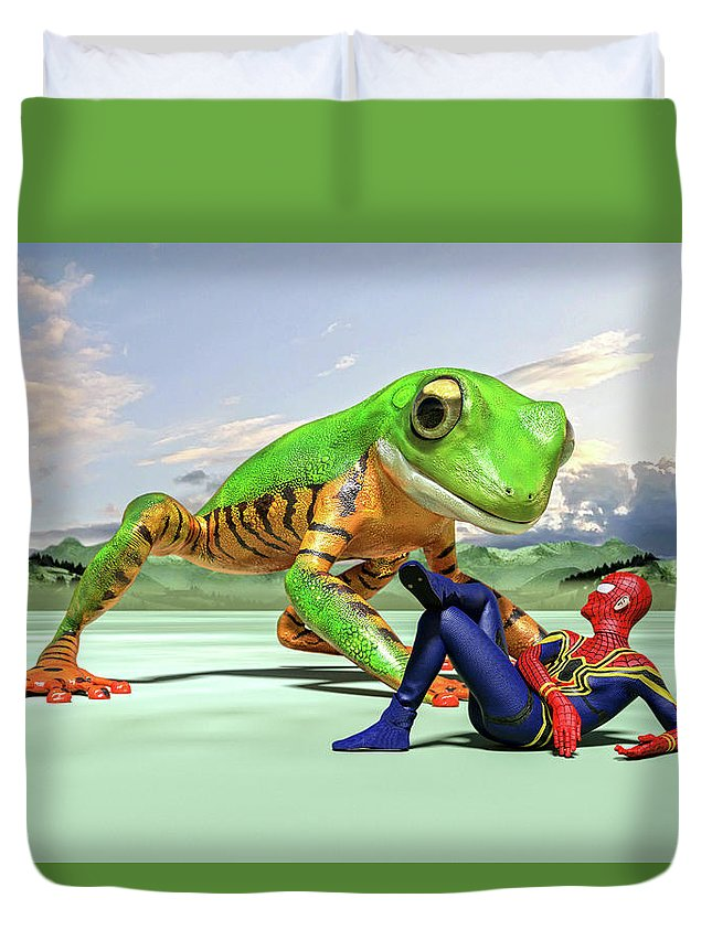 Frog Duvet Cover featuring the digital art Dude I Am Not On The Menu by Betsy Knapp
