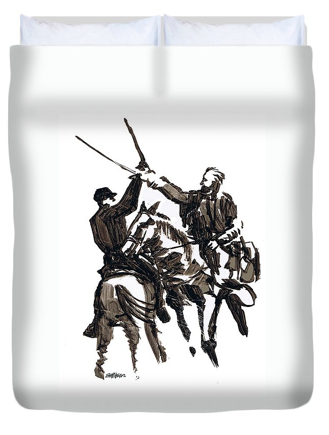 Civil War Duvet Cover featuring the drawing Dueling Sabres by Seth Weaver