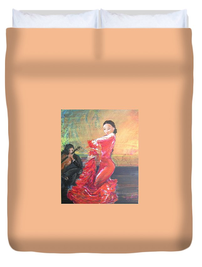 Gypsy Flamenco Dancer. Spanish Dancer Duvet Cover featuring the painting Duende by Lizzy Forrester